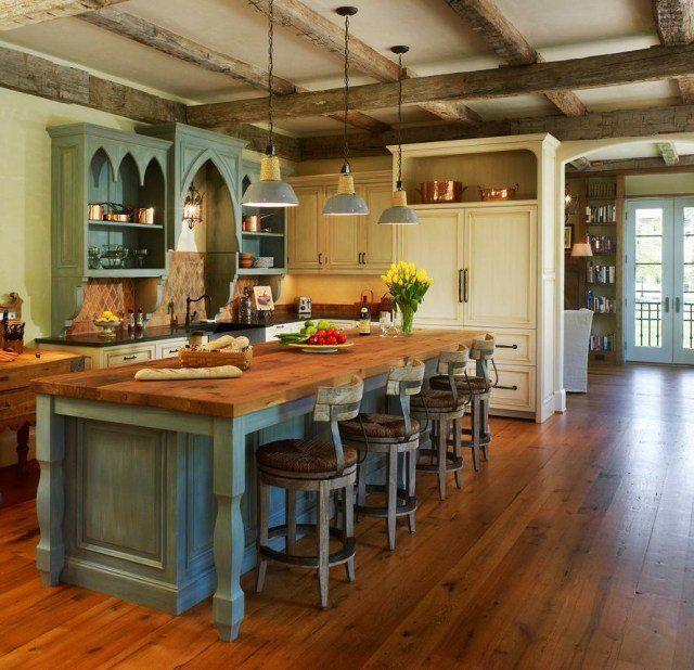Cuisine Style Campagne 50 Idees Pour Une Deco Reussie Homemade Kitchen Island Kitchen Island Design Kitchen Design