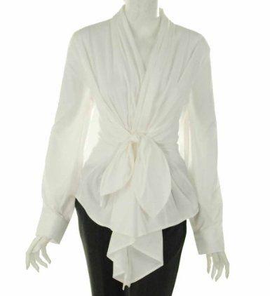 e2802ec137fd0 Farinaz Wrap Around Long Sleeve Blouse White Cotton Blouse