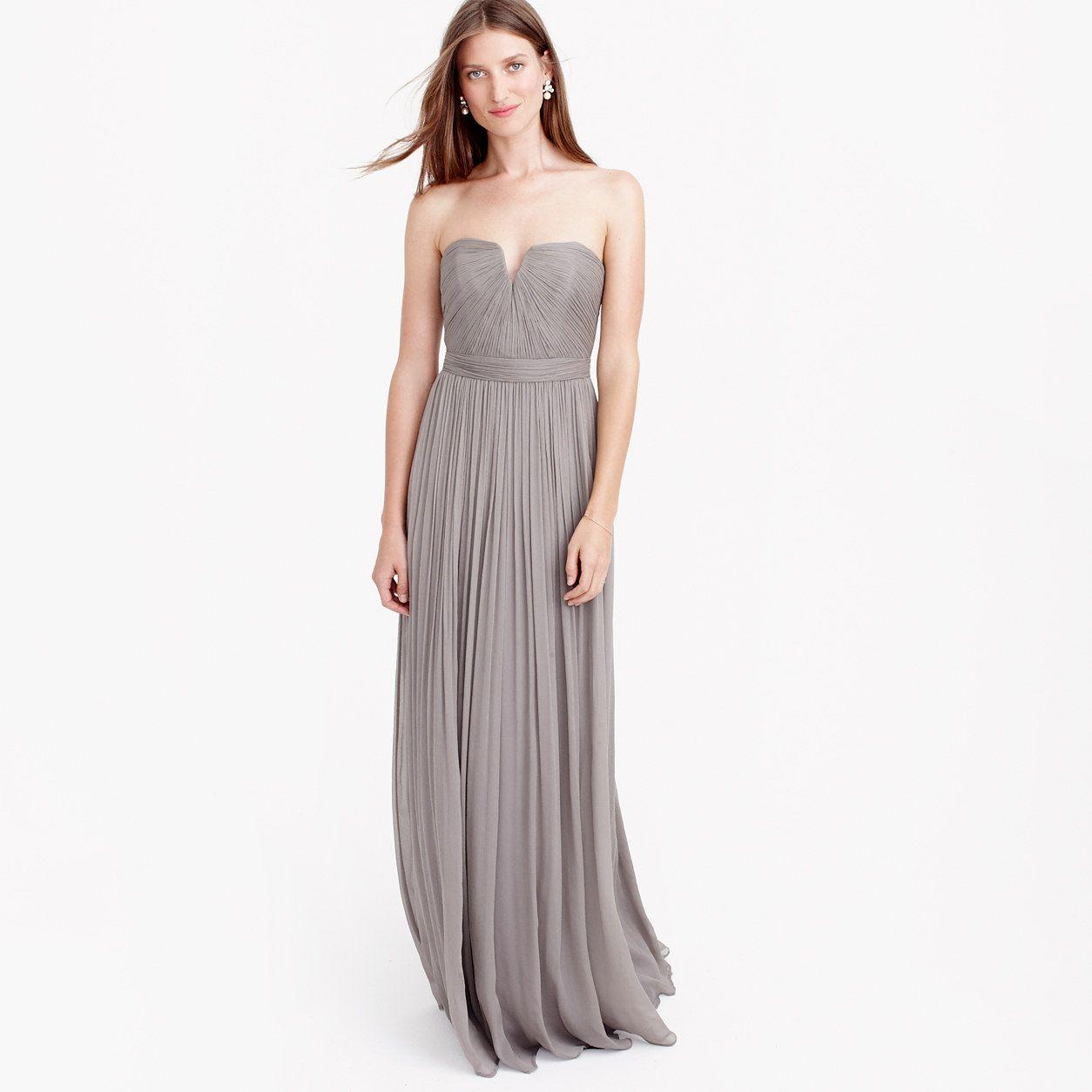 Petite nadia long dress in silk chiffon allproducts jew j crew bridesmaid dress nadia size 0 petite in graphite ombrellifo Choice Image
