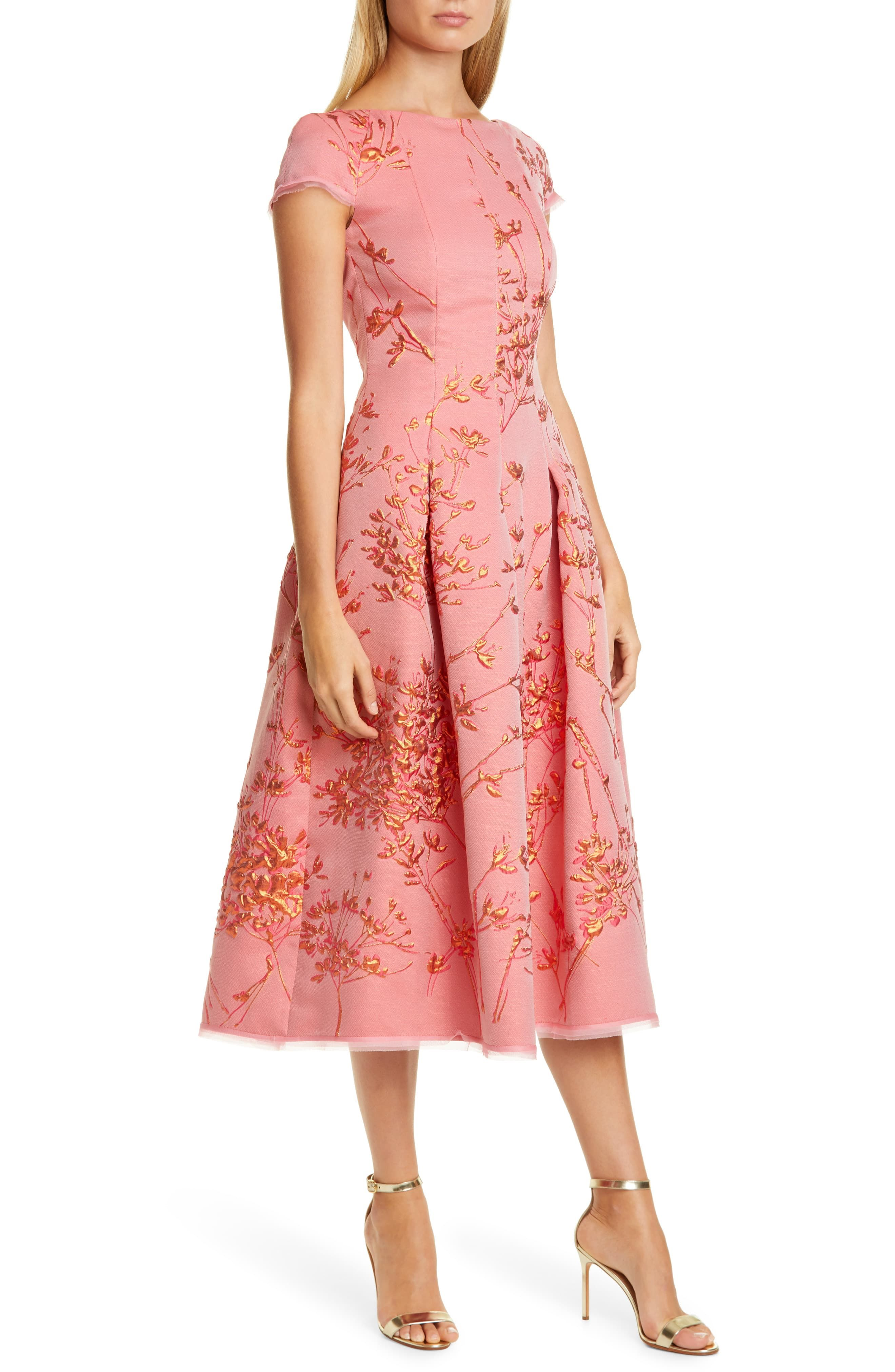 Talbot Runhof Silk Jacquard Twig Fit Flare Midi Dress Available At Nordstrom Select Dress Nordstrom Dresses Fashion Clothes Women [ 4048 x 2640 Pixel ]