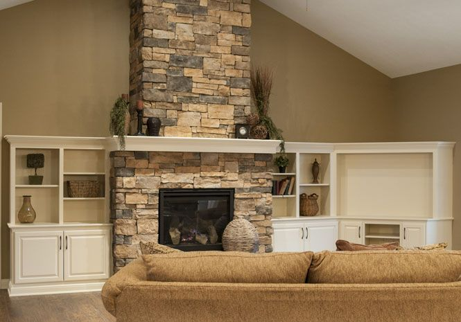 Stone Fireplace And White Entertainment Stacked Stone Fireplaces