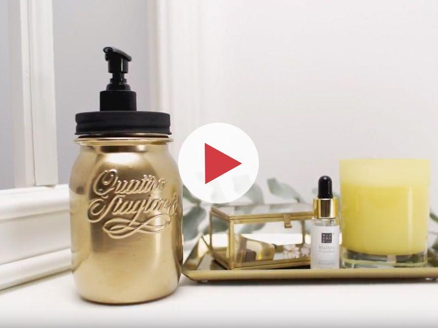 Toom Kreativwerkstatt Goldiger Diy Seifenspender Mit Bildern Diy Seifenspender Seifenspender Seife