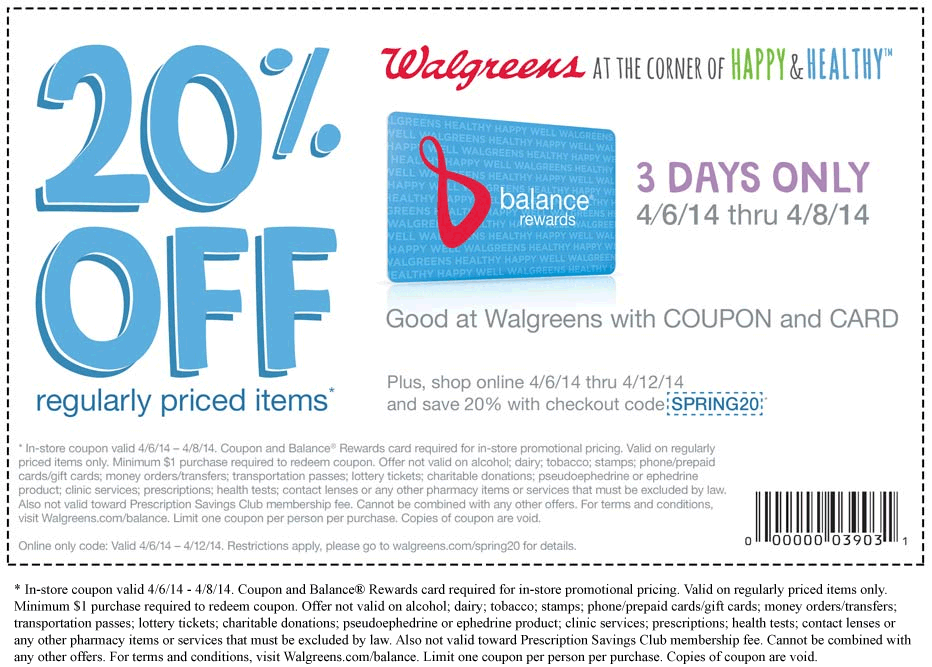 Pinned April 6th 20 off at Walgreens with free rewards