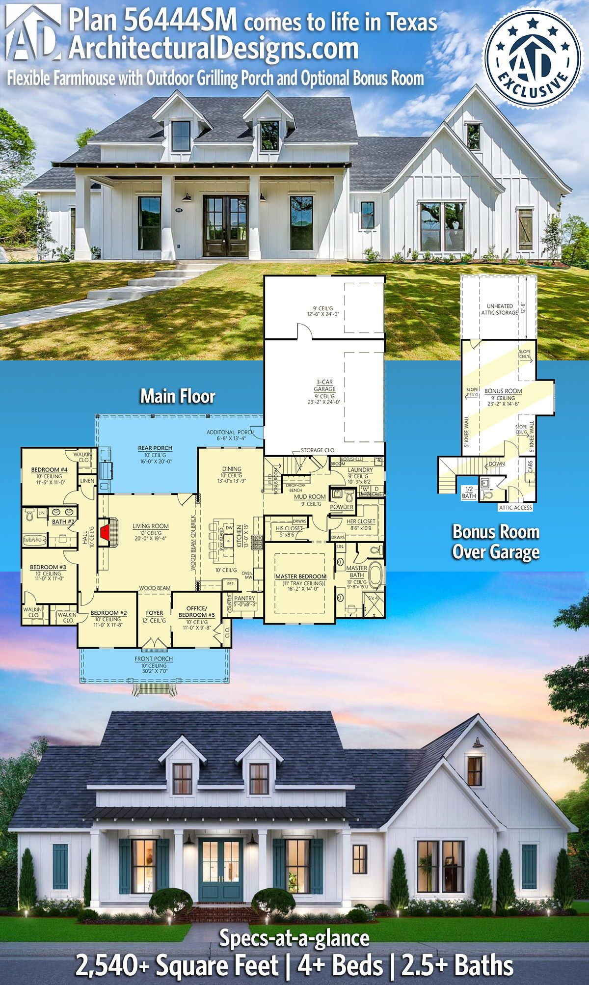 Plan 56444sm Flexible Farmhouse With Outdoor Grilling Porch And Optional Bonus Room In 2020 House Plans Farmhouse House Plans Build Your House