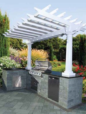 Cambridge Pavingstones Pergola Kits Outdoor Backyard Outdoor Grill Island Diy Outdoor Kitchen