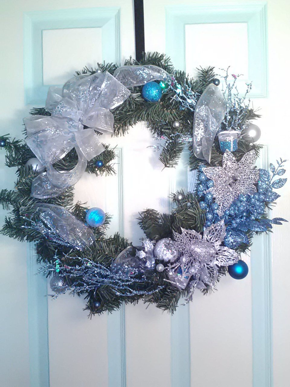 Non Christmas Winter Wreaths.Silver And Aqua Wreath Holiday Wreath Modern Chrismas