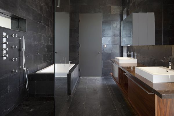 this black granite bathroom is elegant refined and just a touch moody - Granite Bathroom Designs