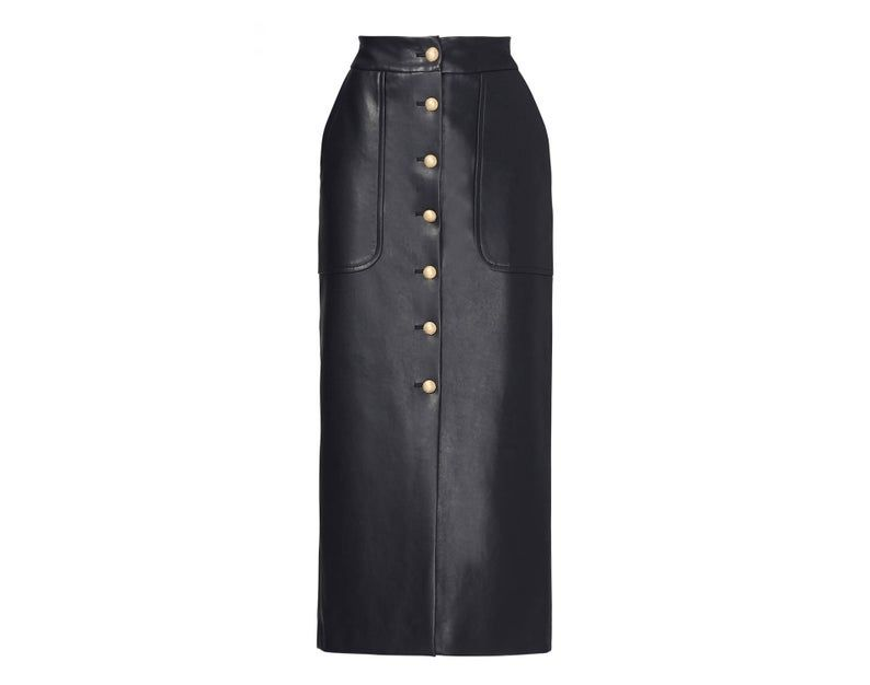 Long Maxi Leather Button Skirt - PVC/Vinyl, Suede, Latex - Black, Red, Pink, Nude, Tan, Brown etc - XS, S, M, L, XL