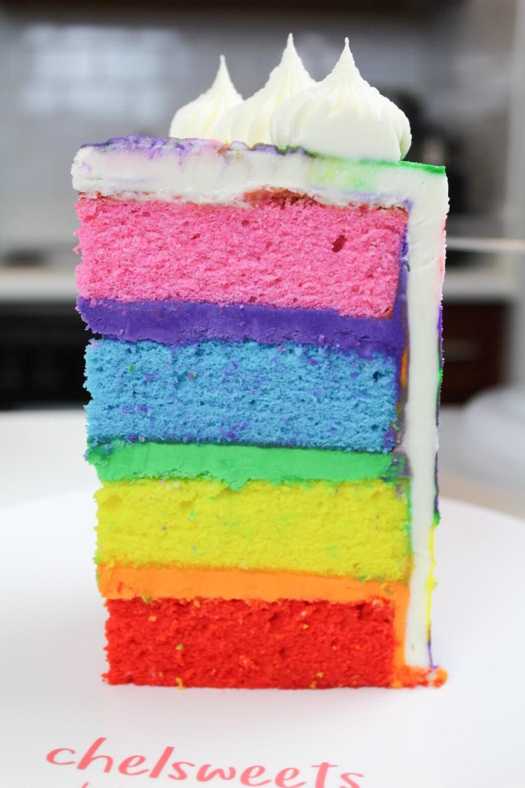 Rainbow Cake Recipe 4 Layers