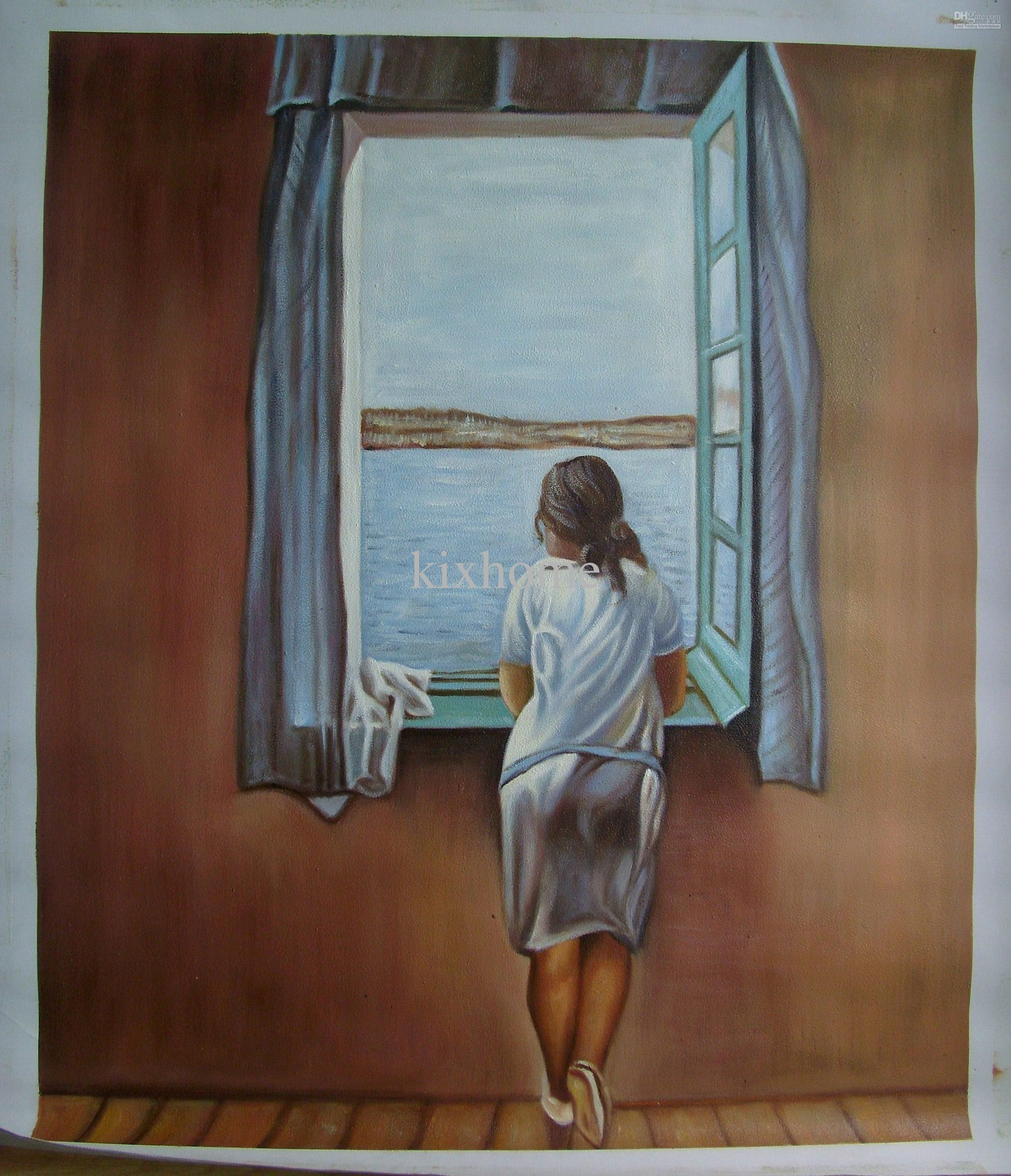 Art Gift,Oil Painting Canvas,Abstract Oil Paintings,Girl At Window By Salvador