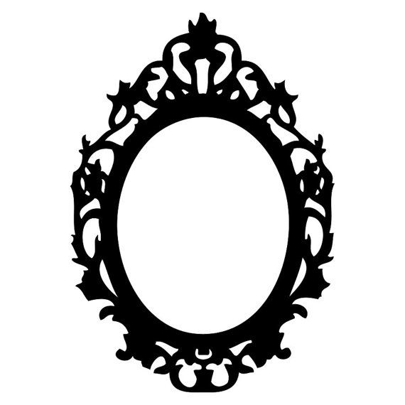Vinyl Wall Decal Black Victorian Style Oval Frame 30 X 21 Inches In