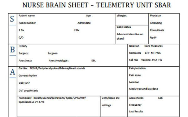 The 10 Best Nurse Brain Sheets Nurse Brain Sheet Sbar And Nursing