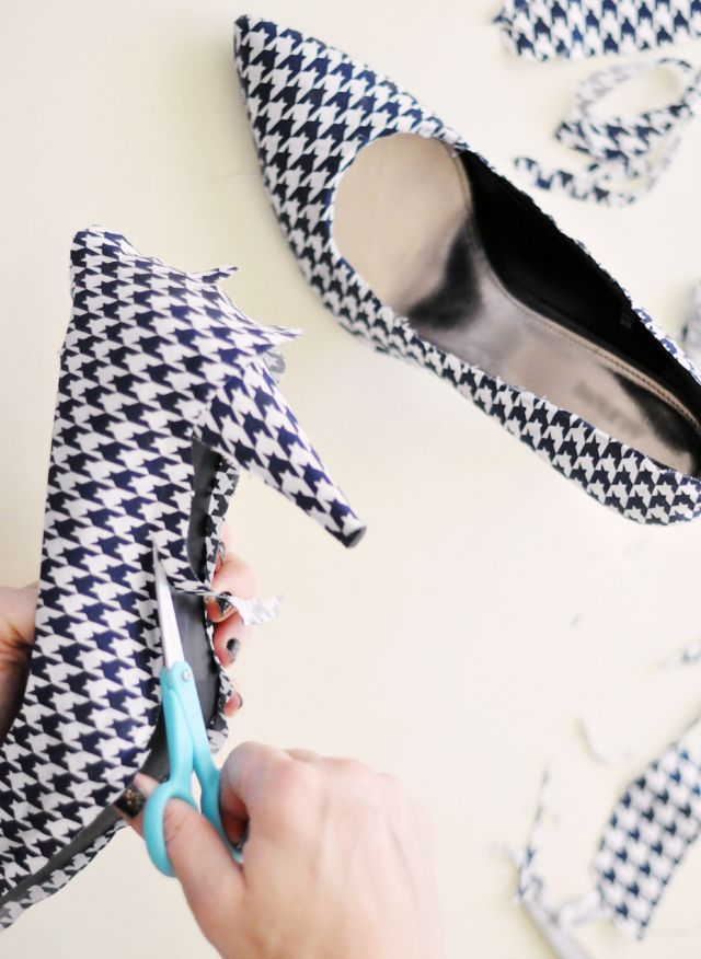 Transform old scuffed heels with some fabric and mod podge.  @Rosalie Barbour Anything with houndstooth makes me think of you!
