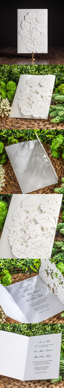 White Embossing elegant laser cutting Wedding invitation Cards 2016 New Elegant Party Wedding invitations, Free shipping