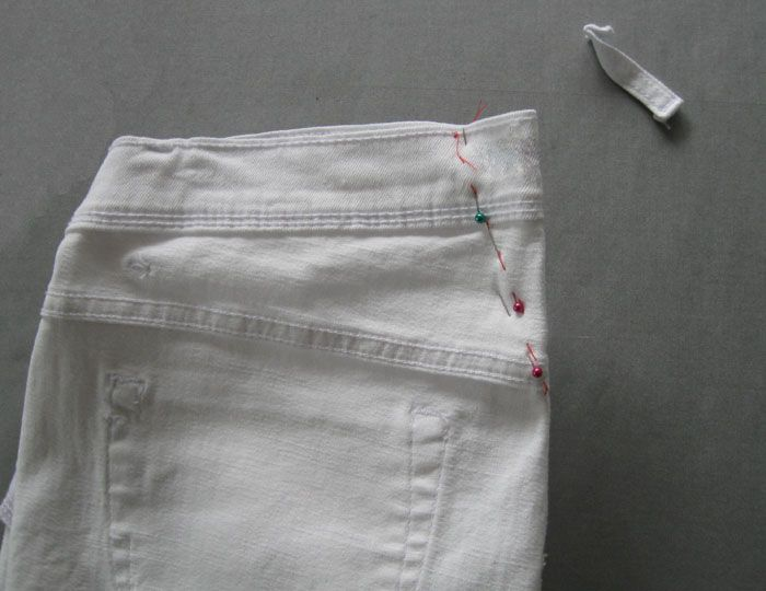 Ready to Sew On Tailored Waistband for Trousers with Rubber Band to Hold Shirts