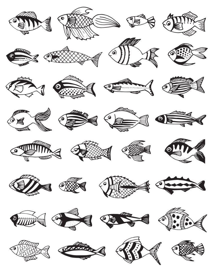 раскраски океан маленькие разные рыбки Coloring