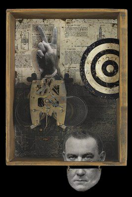 """The Peace Machine 18""""h x 12""""w x 5""""d Mixed Media Assemblage, desk drawer, vintage clock parts, vintage photo of actor on wood cutout,"""