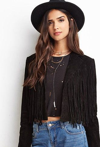 668068350cba8 Genuine Suede Fringe Jacket | Forever 21 - 2000140787 | no shame in ...