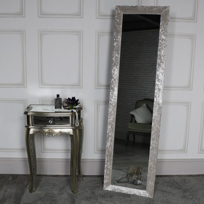 Tall Rustic Grey Floor Standing Cheval Mirror Bedroom Full Length Home Decor