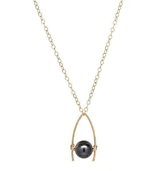 14K Gold Filled Black Agate Bead on Hand Forged Drop Pendant Necklace