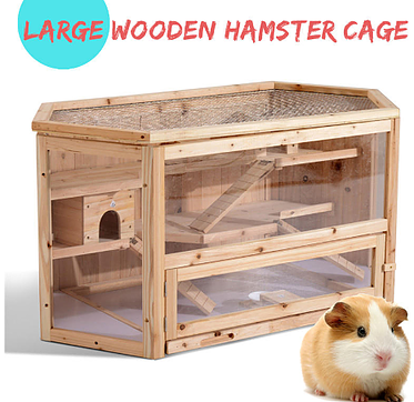3 Tier Wooden Hamster Cage House Hamster Cage Small Pets Small Animal Cage