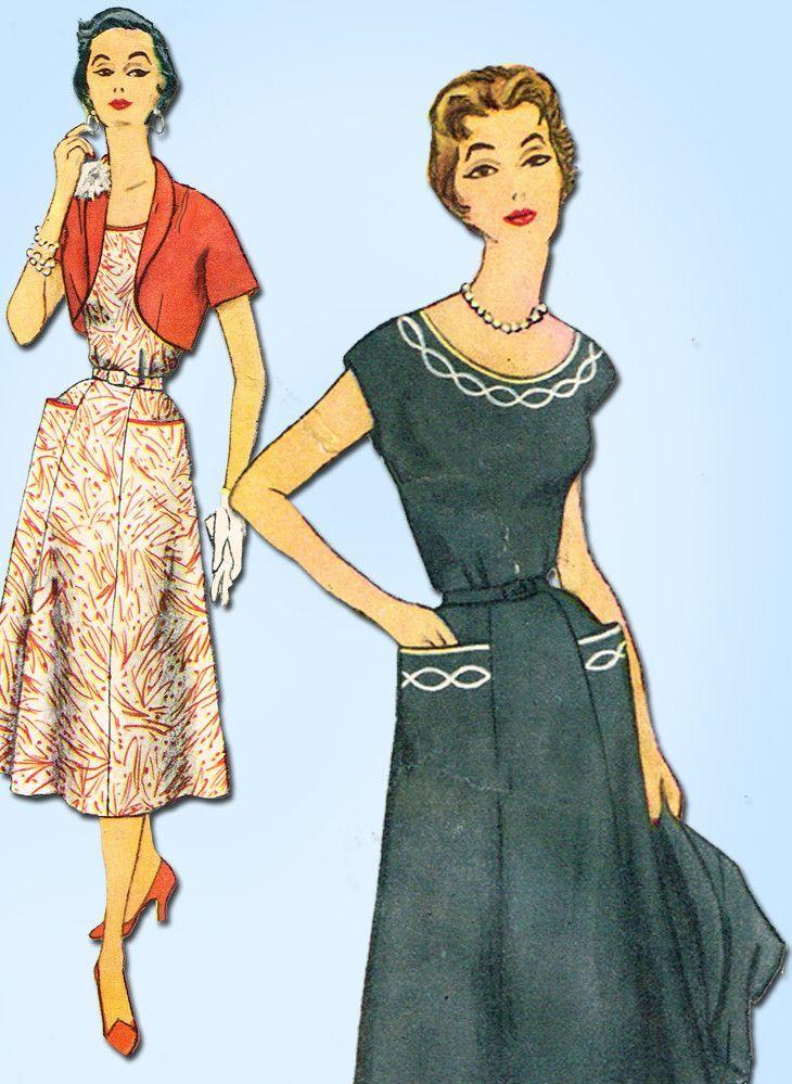 60s Vintage Simplicity Sewing Pattern 60 Uncut Misses Dress Best 1950s Patterns