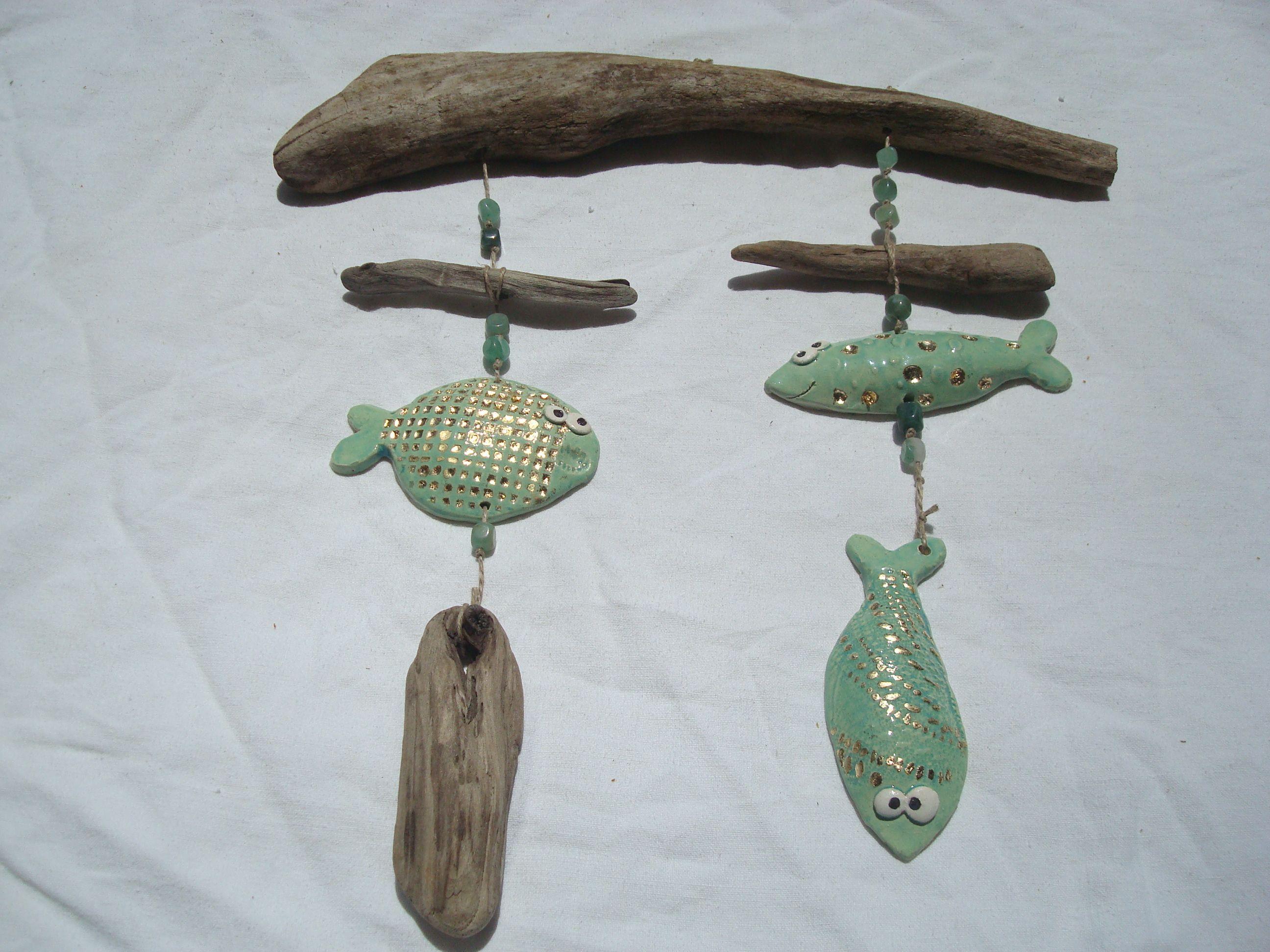 petits poissons en c ramique suspension avec bois flott id es c ramique pour d butants. Black Bedroom Furniture Sets. Home Design Ideas
