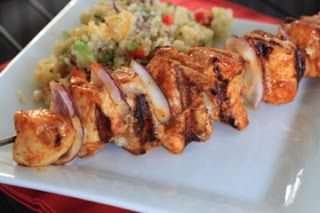 spiced chicken skewers with nectarine and avocado quinoa salad