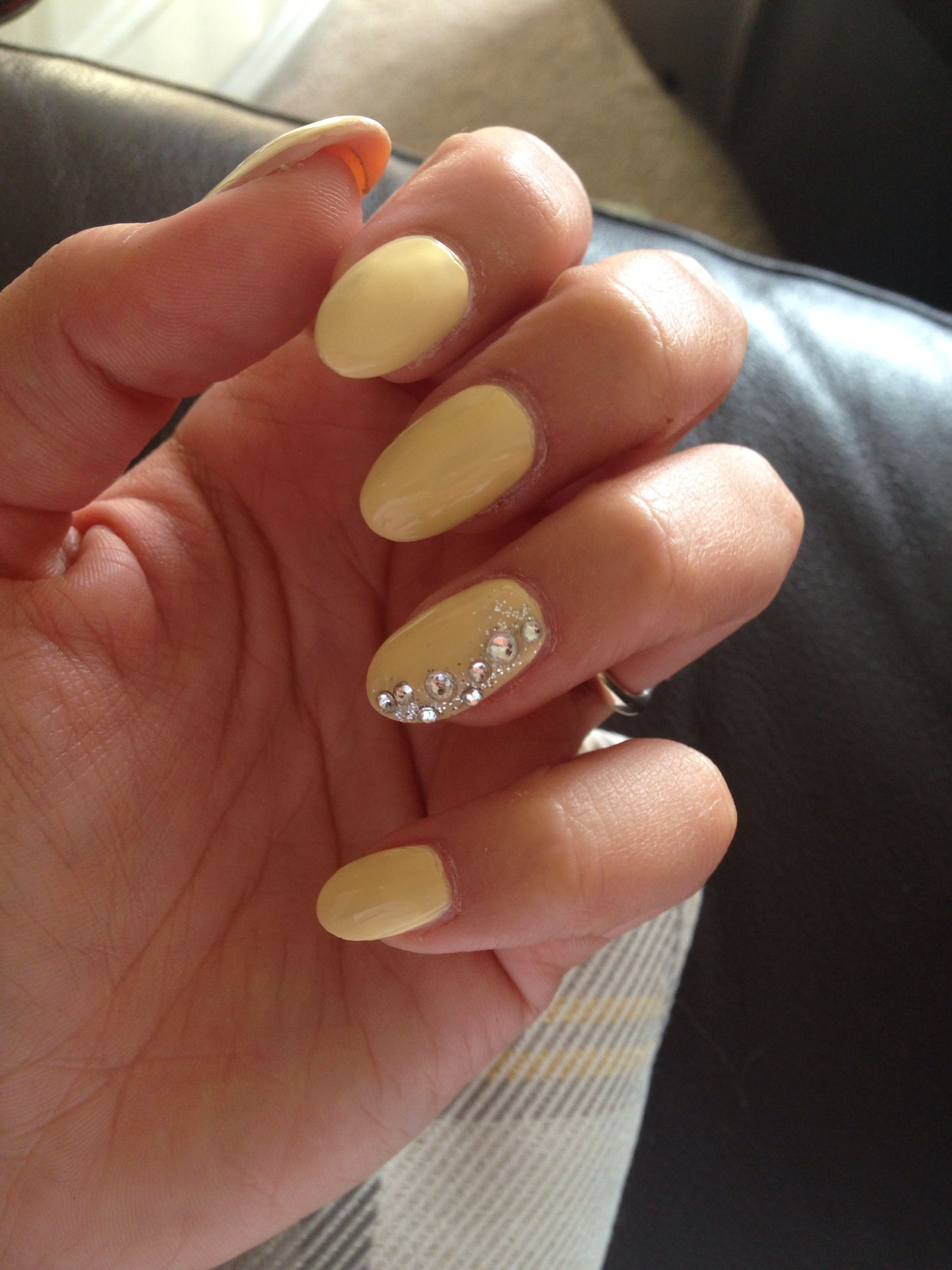 Lemon Acrylic Nails With Silver Glitter And Gems Nails Acrylic Nails Silver Glitter