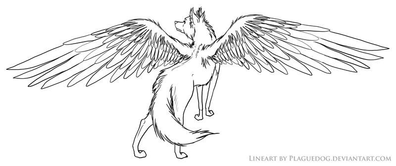 Winged Wolf Lineart By Plaguedog On Deviantart Wolf Colors Wolf Sketch Anime Wolf