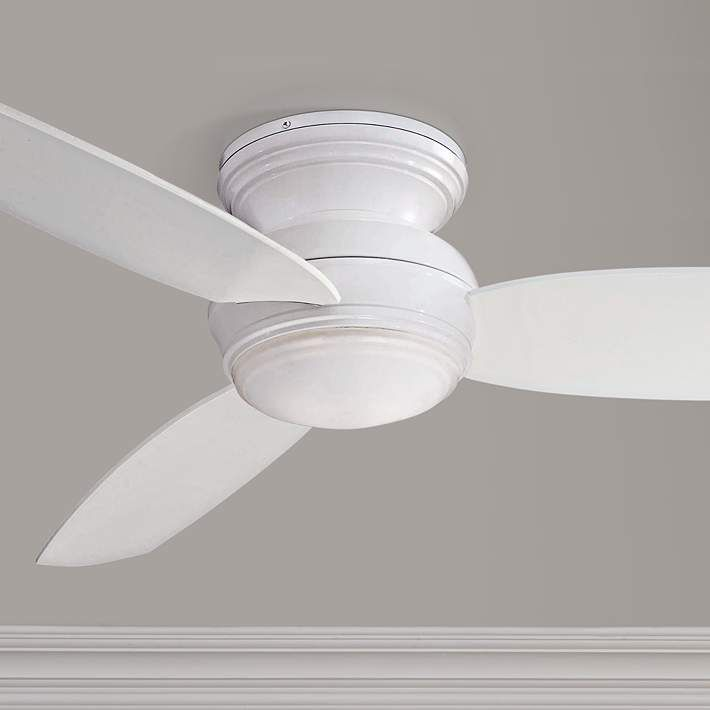 52 Traditional Concept White Flushmount Led Ceiling Fan 19w49 Lamps Plus Ceiling Fan Led Ceiling Fan White Ceiling Fan