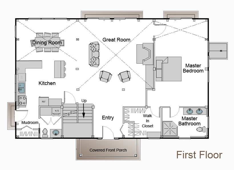 This is the floor plan with master downstairs i want to for Pole barn style home plans