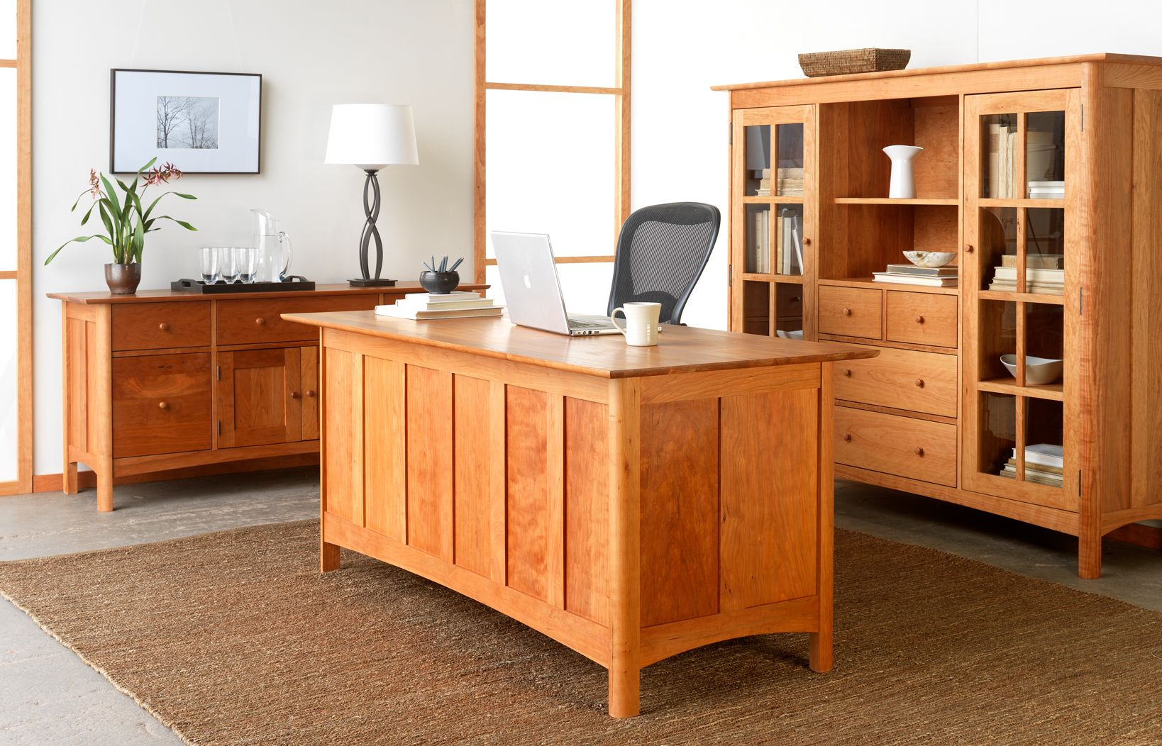 Modern Shaker Cherry Office Furniture Beautiful Executive Desk Bookcase And File Cabinet