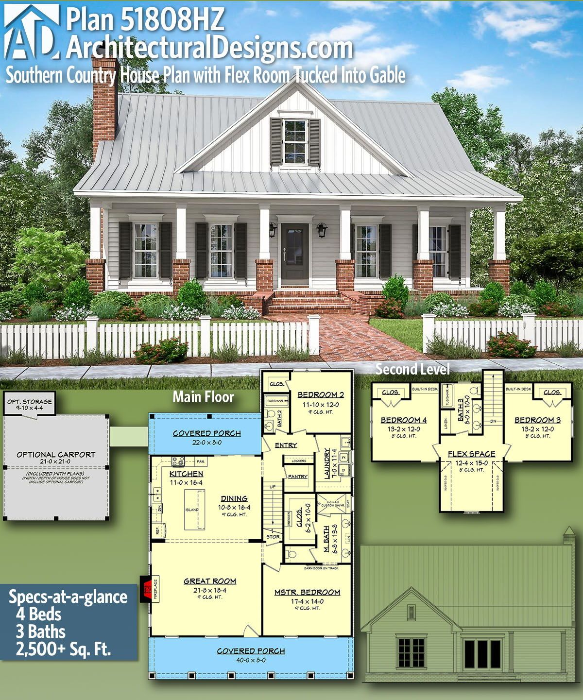 Plan 51808hz Southern Country House Plan With Flex Room Tucked Into Gable House Plans Farmhouse Country House Plan Country House Plans