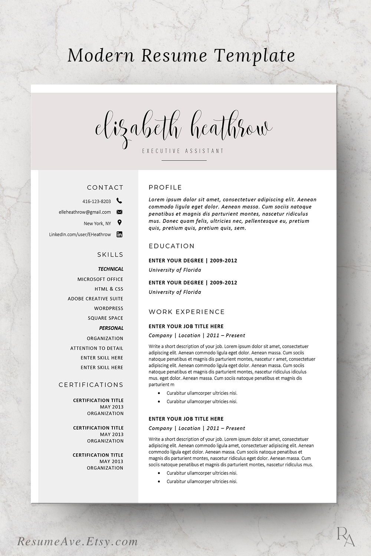 Creative Resume Template Modern Resume Design For Word Etsy Teacher Resume Template Resume Template Word Resume Template