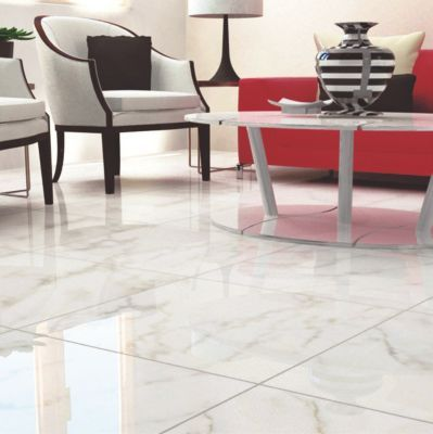 Carrara White High Gloss Ceramic Tile 24in X 24in Floor And