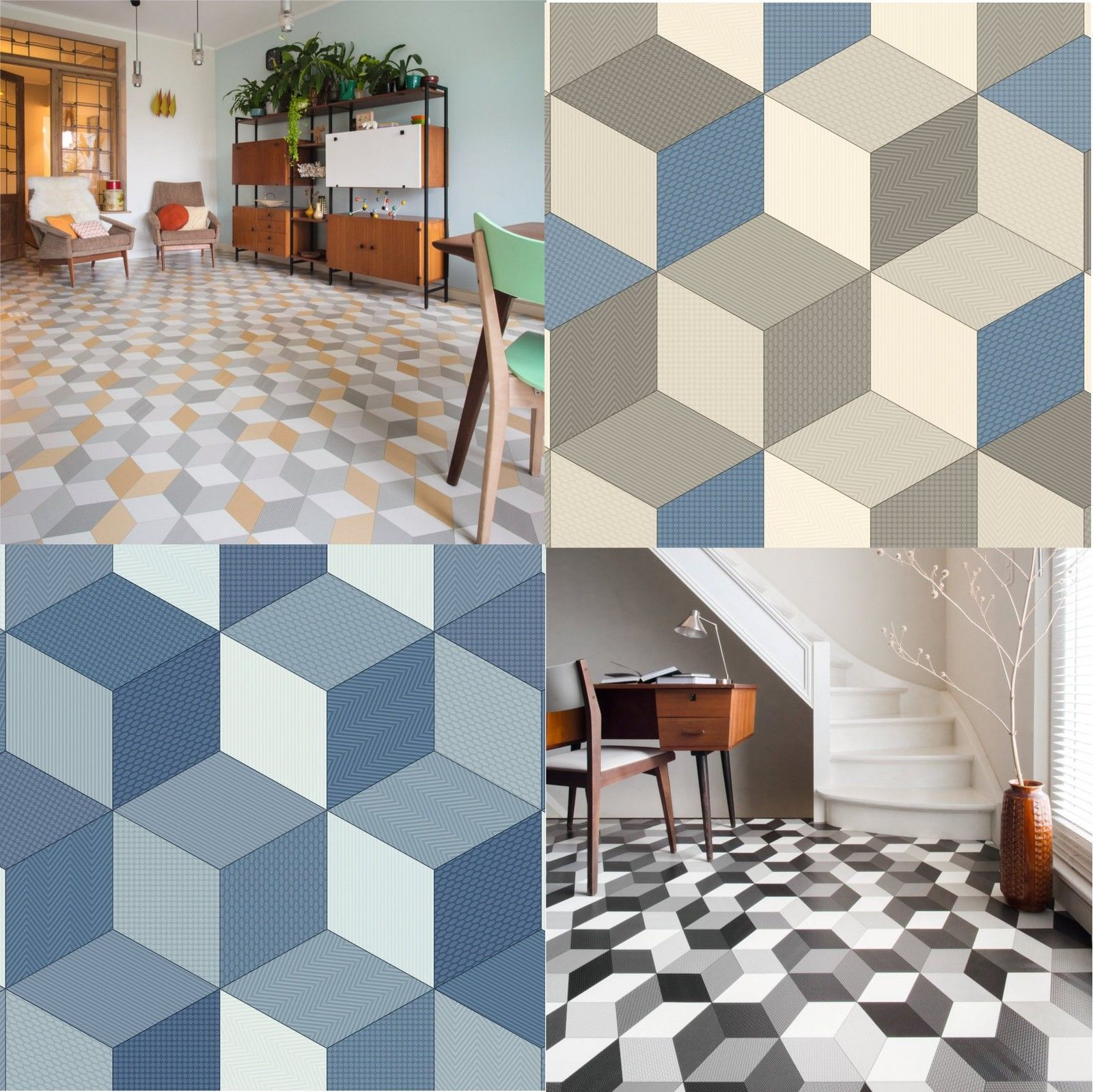 Cushioned Vinyl Flooring Sheet Cube It Geometric Design Kitchen