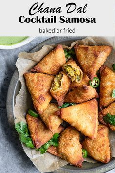 These finger food sized cocktail chana samosa are the perfect appetizer or snack! You make them using spring roll wrappers and can bake them or fry them to cook. They can also be made with phyllo dough if baking. #veganindian #indianfood #samosa #vegansnack #veganappetizer #veganside #dal #lentils #chanadal