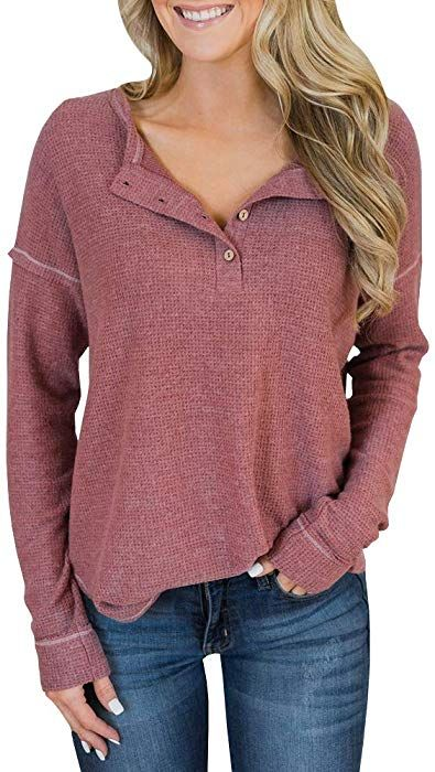 201f0f67b Inorin Womens Henley Blouse Fall Button Down Pullover Knit Long Sleeve  Lightweight Shirts Tops at Amazon Women's Clothing store: