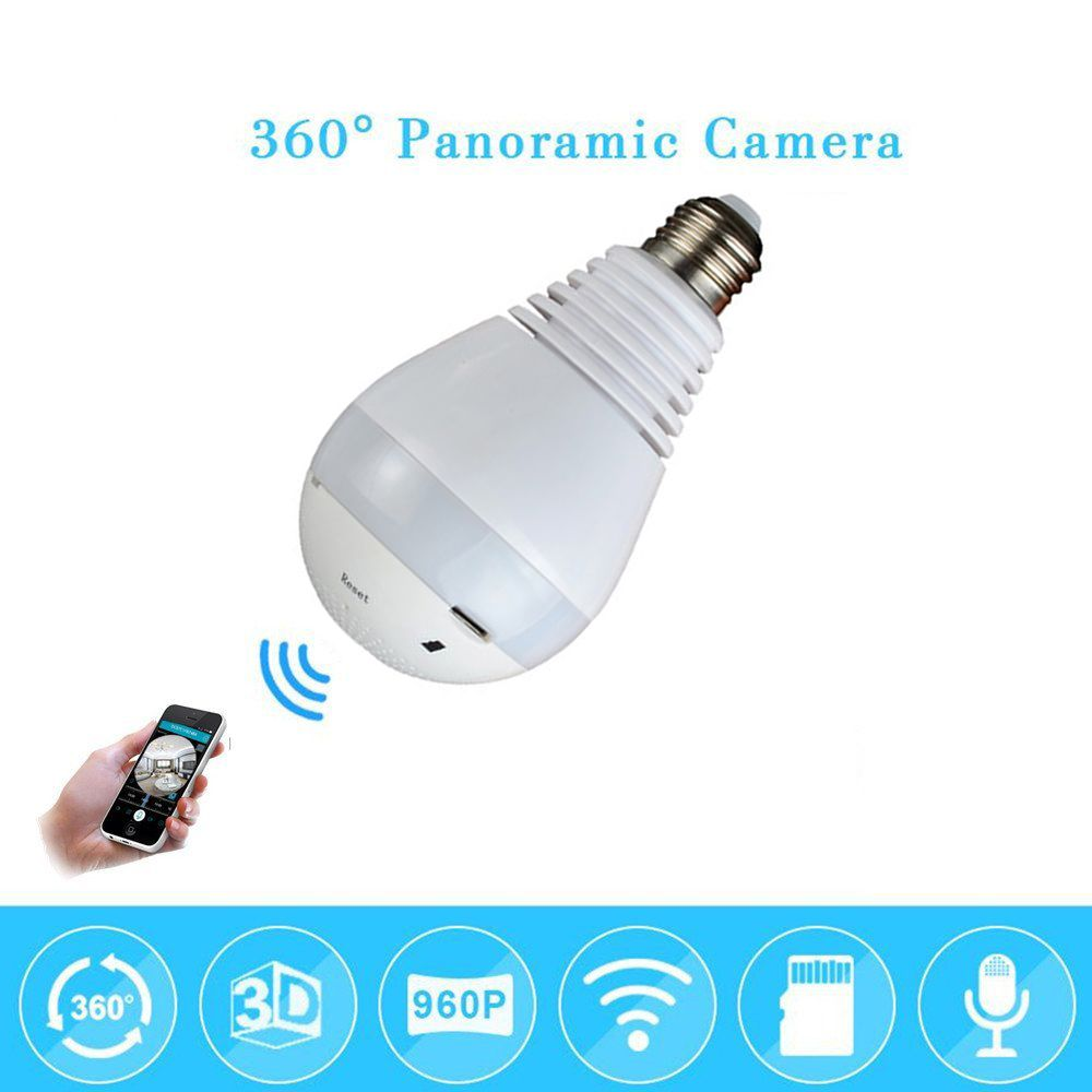 1080P 360° Wireless IP Camera Bulb Light FishEye Smart WiFi Camera Panoramic New