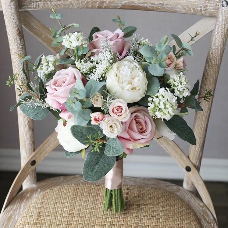 Spring Silk Wedding Bouquet In 2020 Artificial Wedding Bouquets Simple Wedding Bouquets Flower Bouquet Wedding