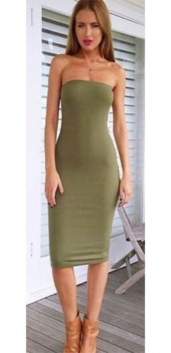 Front Line Army Olive Green Strapless Tube Bodycon Midi Dress ...