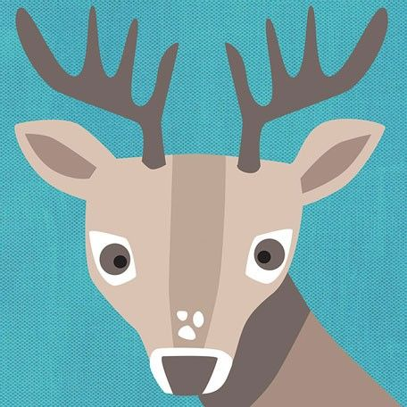 """""""Young Buck"""" Modern Woodland Wall Decor for Kids Rooms by Vicky Barone for Oopsy Daisy, Fine Art for Kids"""