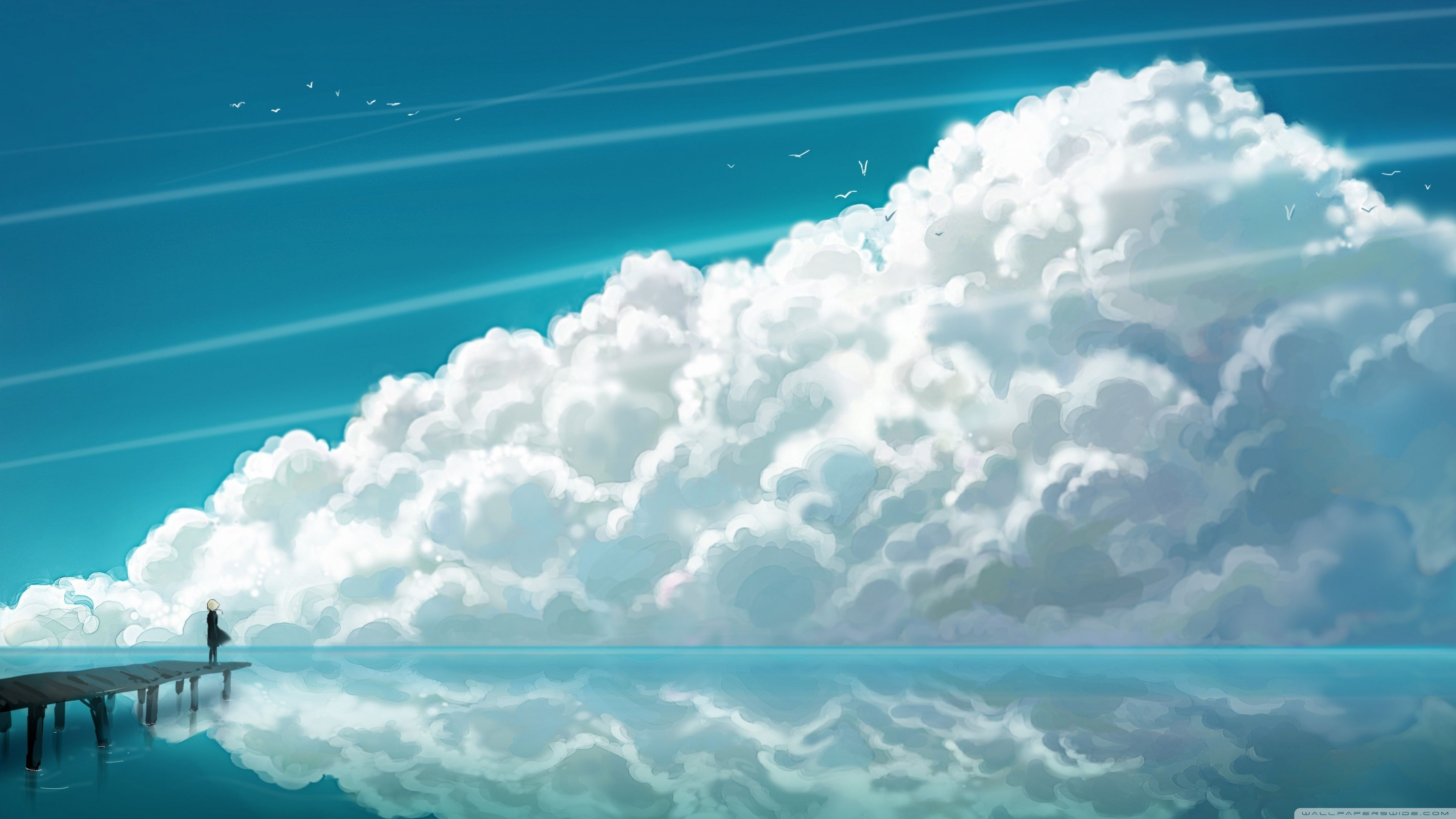 Serene Anime Scenery Wallpaper Clouds Scenery Wallpaper