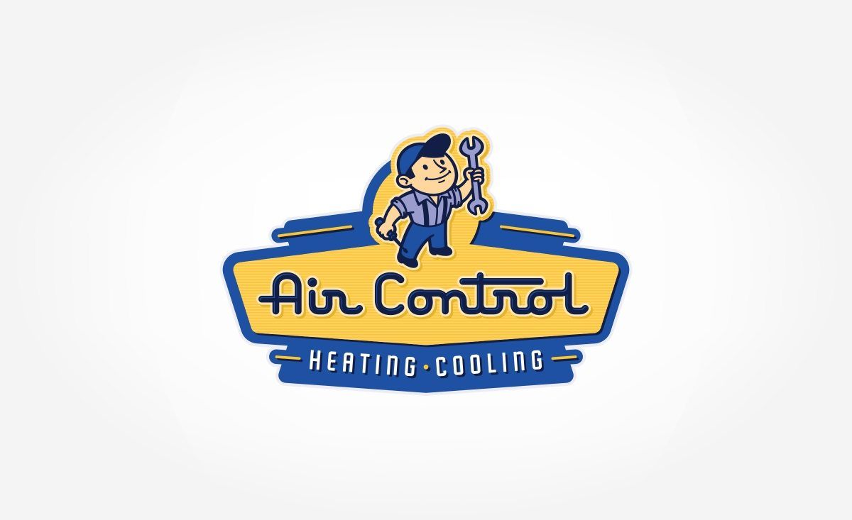 Air Control Heating Cooling Kickcharge Creative Retro Logo