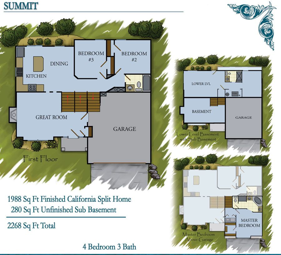 Summit model floorplan includes 2268 sq ft the summit is for California split house plans