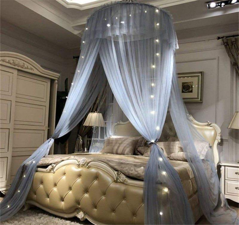 Lotus Karen Princess Bed Canopy Romantic Round Dome Double Ruffles