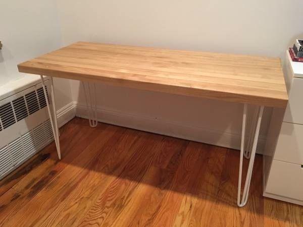 Butcher Block White Hairpin Leg Desk Hairpin Leg Desk Desk Tiny Apartment