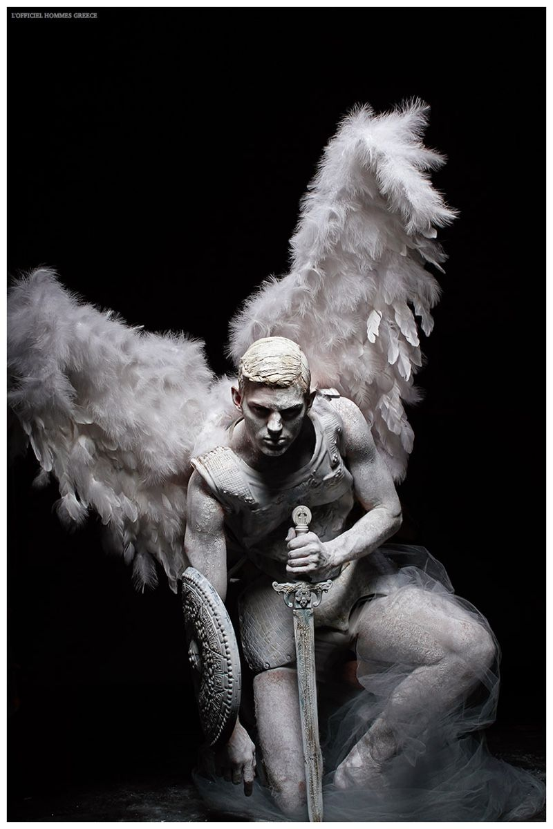 Sebastian Sauve is a Fallen Angel for L'Officiel Hommes