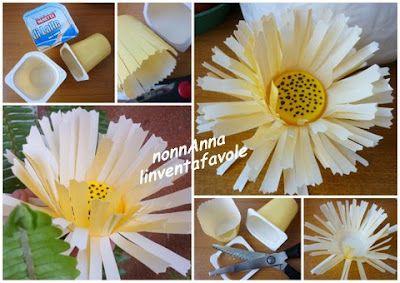 Fiore da un vasetto di plastica.  http://nonnanna-linventafavole.blogspot.it/2012/03/prima-budino-poi-fiore-primaverile.html